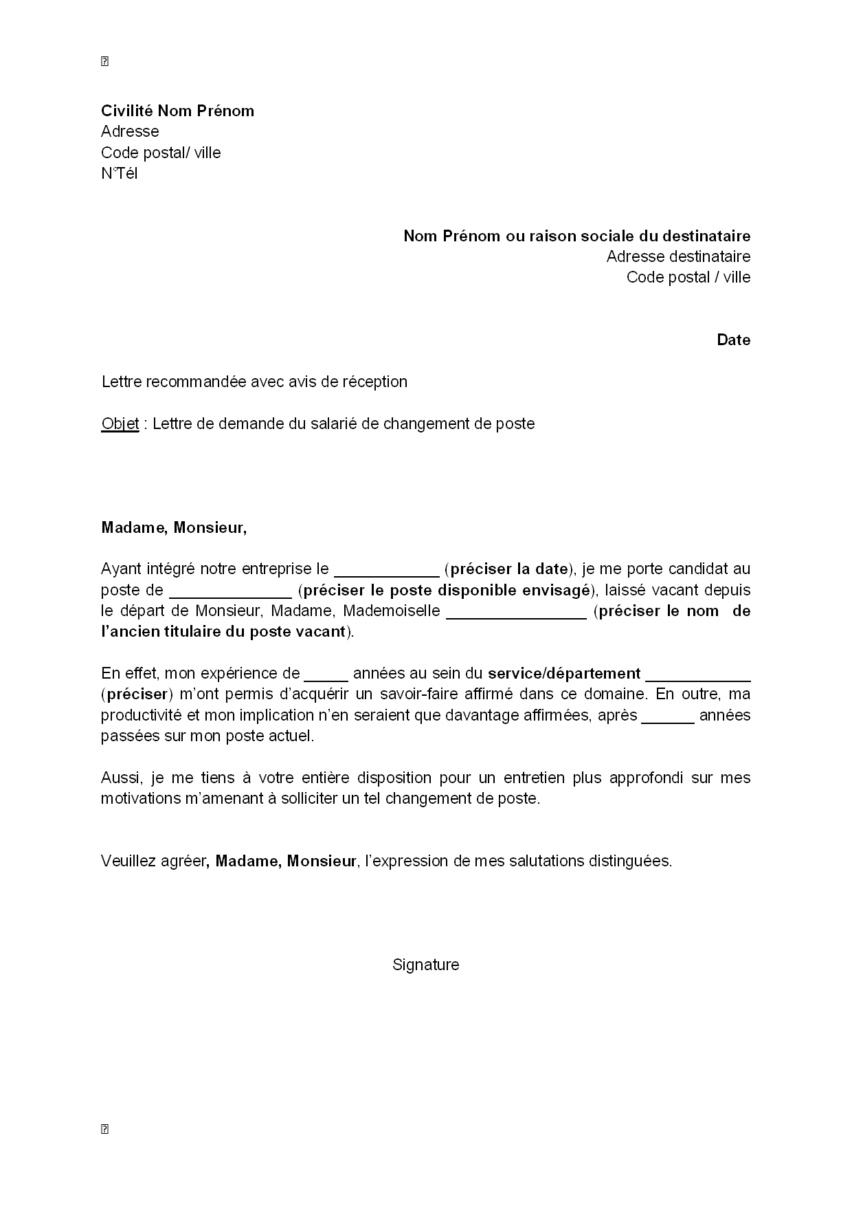 lettre de motivation changement de service