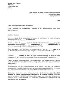 Lettre De Demande De Compensation Financiere Et De Remboursement D