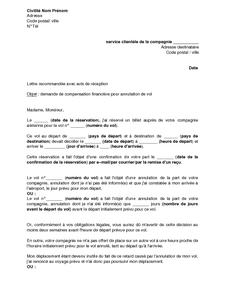 Modele lettre assurance annulation voyage