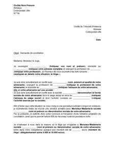 Lettre De Demande De Conciliation Au Tribunal D Instance Modele De