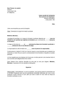Lettre De Demande De Congé De Formation Syndicale à L