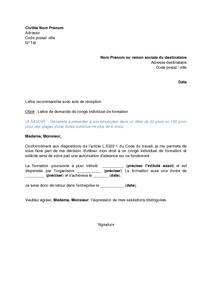 Exemple Gratuit De Lettre Demande Congé Individuel Formation