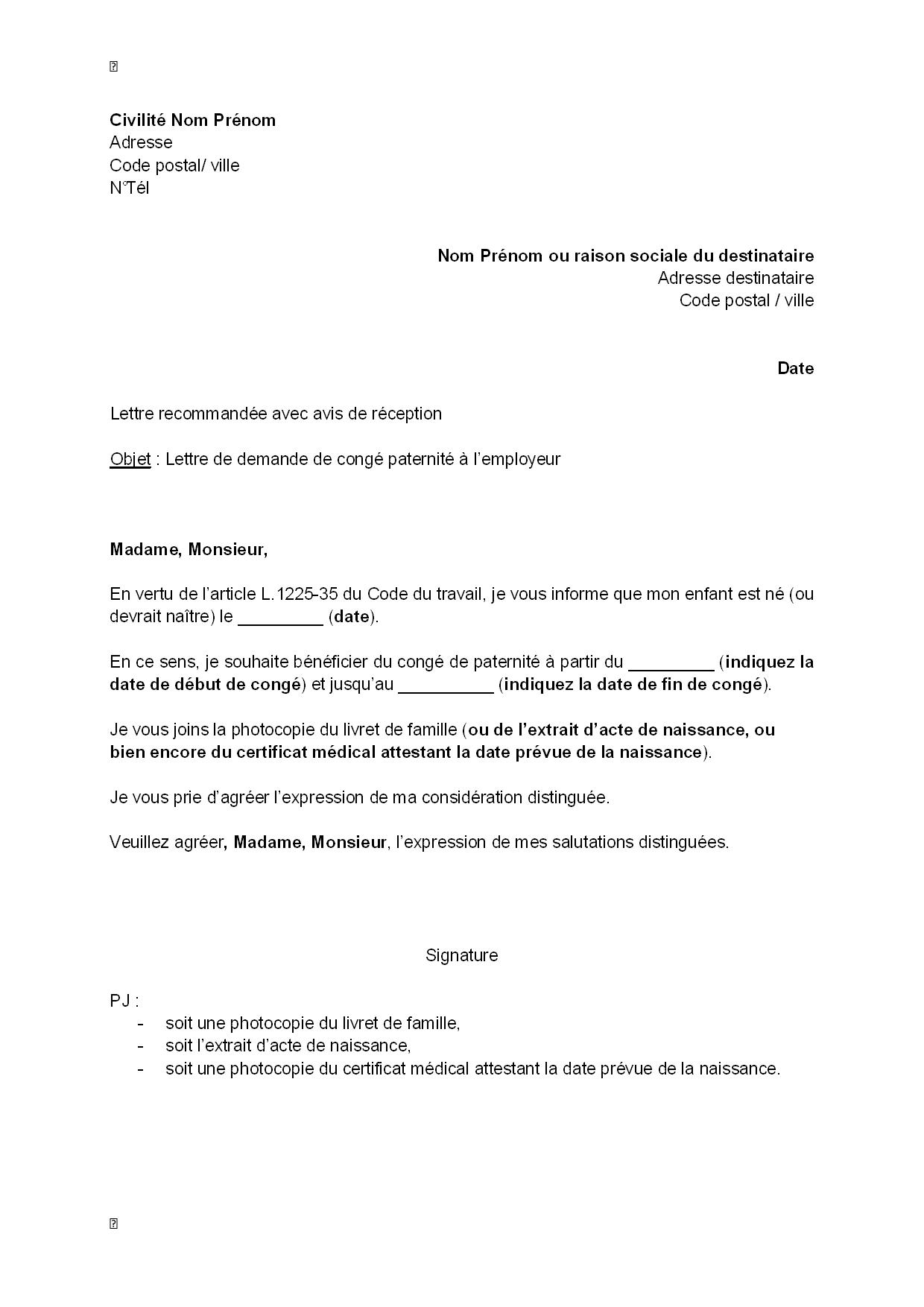 lettre de demande de cong u00e9 paternit u00e9  u00e0 l u0026 39 employeur