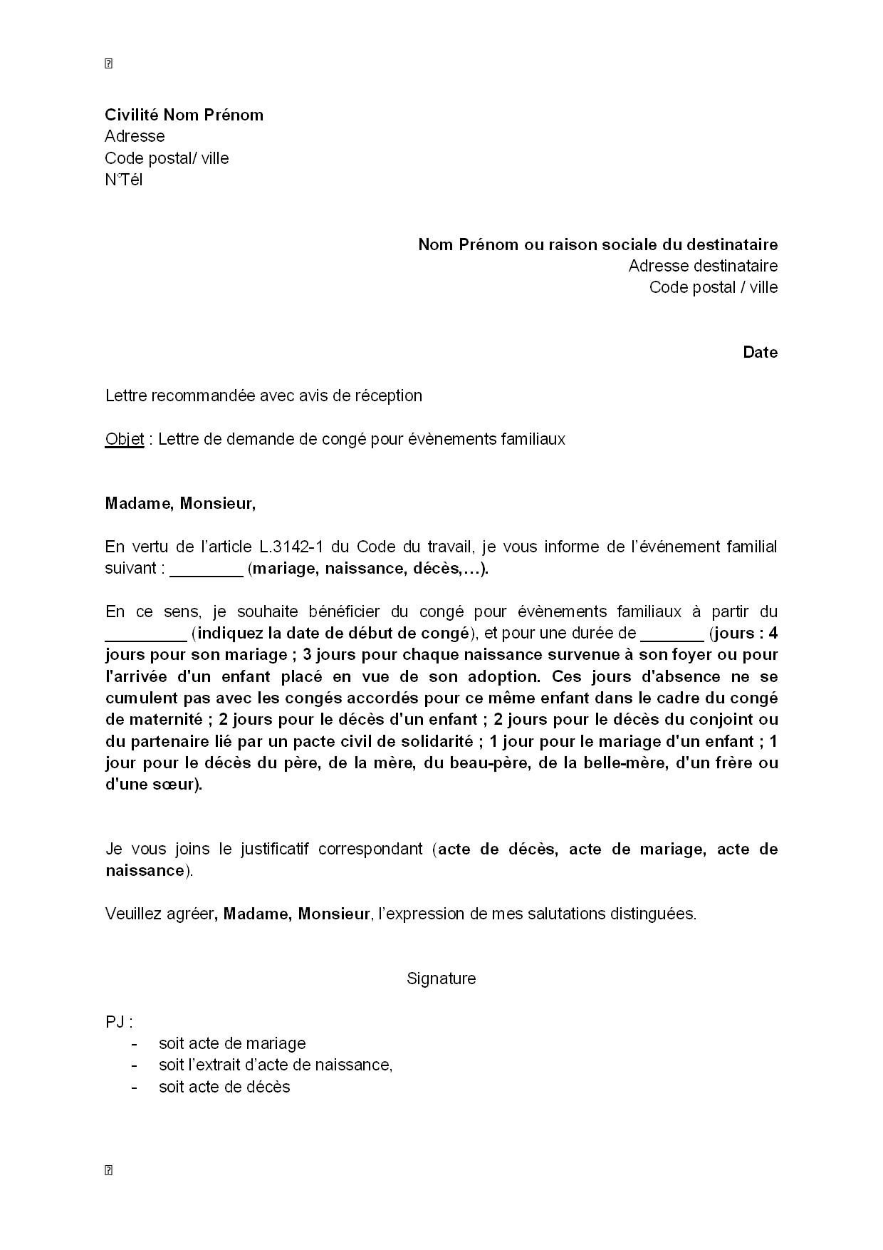 Exemple gratuit de lettre demande cong v nement familial for Jours de conges pour demenagement