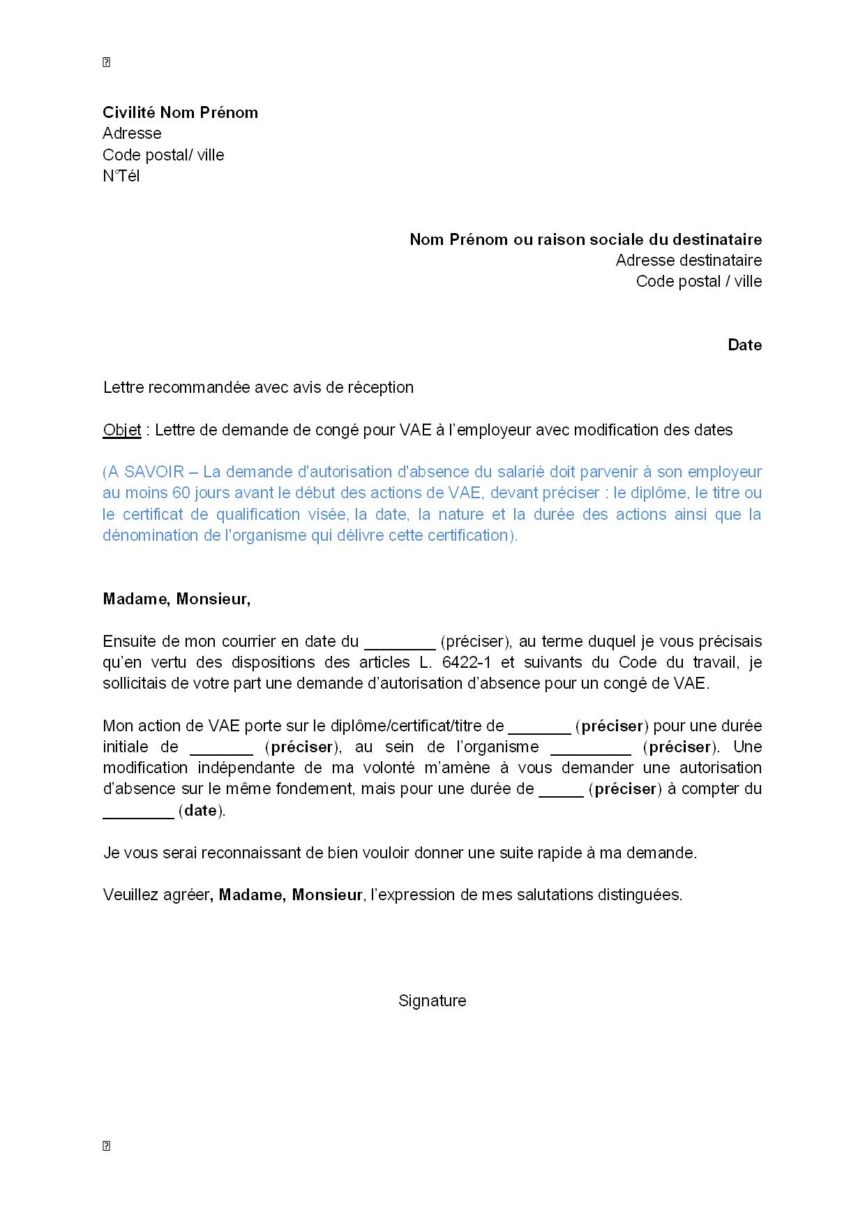 lettre de demande de cong u00e9 pour vae  u00e0 l u0026 39 employeur avec