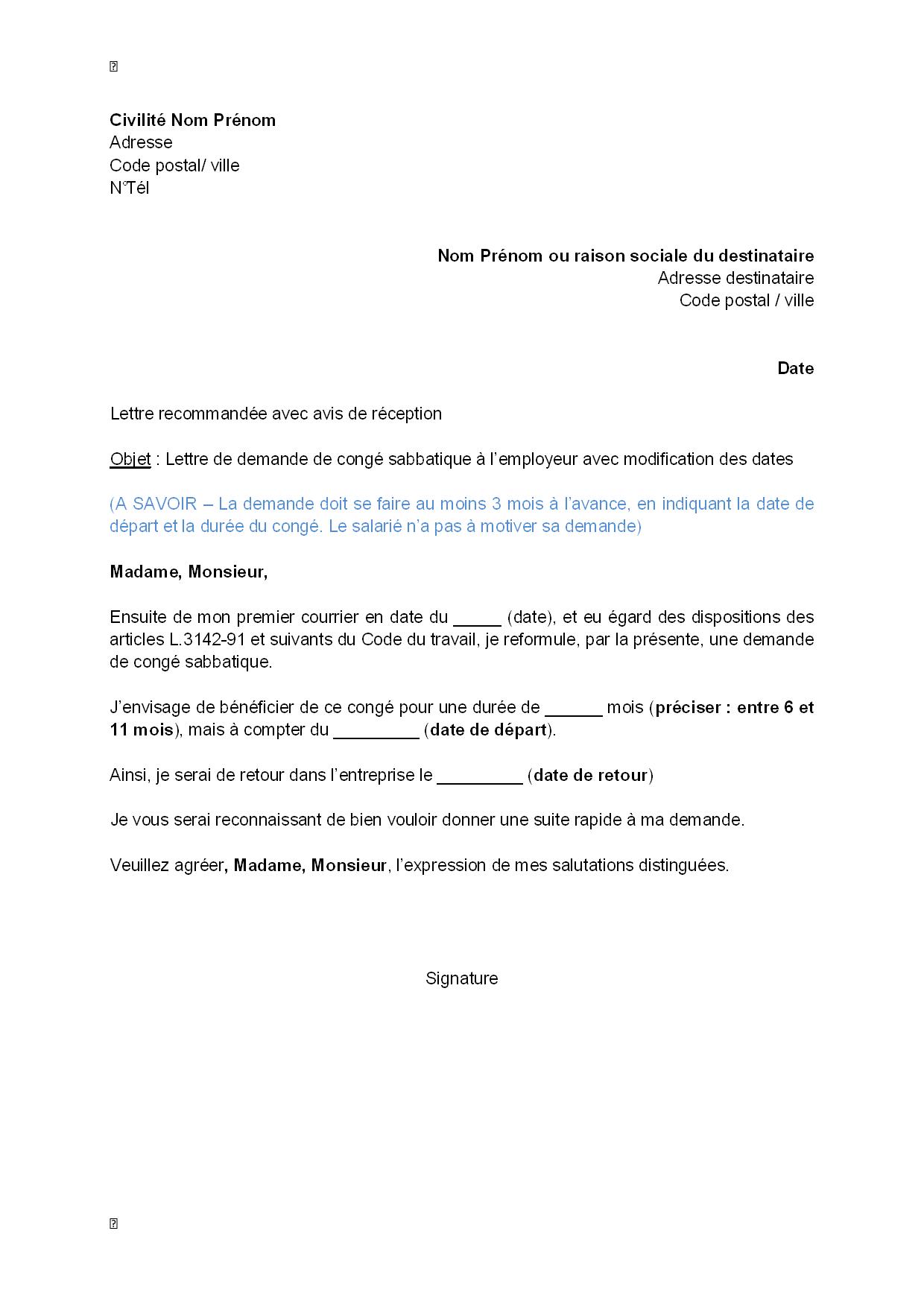 lettre de demande de cong u00e9 sabbatique  u00e0 l u0026 39 employeur avec