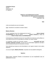 Exemple Gratuit De Lettre Demande Consultation Dossier Medical