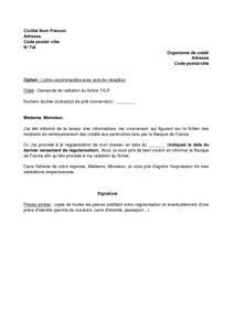 Lettre De Demande De Contestation Suite A Une Inscription Au Ficp