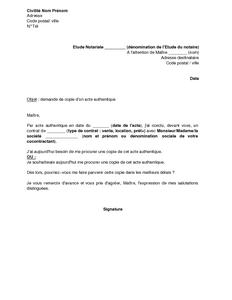 Exemple Gratuit De Lettre Demande Copie Un Acte Authentique A Notaire