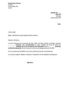 Lettre De Demande De Copie Integrale D Acte De Deces Modele De