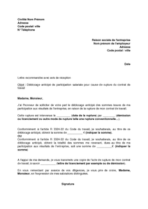 modele lettre deblocage participation Lettre rupture contrat modèle correspondance administrative | Eval  modele lettre deblocage participation