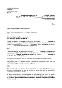 Lettre De Demande De Delivrance D Un Certificat D Urbanisme Modele