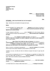 Modele lettre resiliation bail pour non paiement loyer document online - Caution loyer non rendue ...