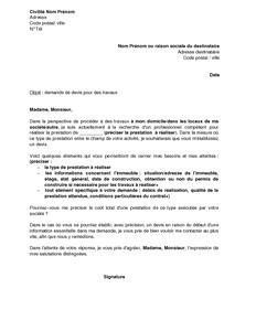 Lettre De Demande De Devis Pour Des Travaux Modele De Lettre Gratuit Exemple De Lettre Type Documentissime
