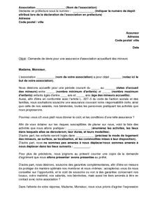 Lettre de demande de devis pour une assurance d 39 association encadrant des mineurs mod le de - Avocat commis d office pour mineur ...