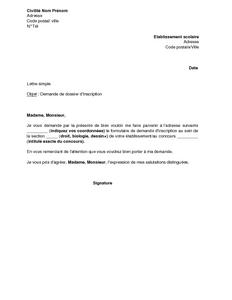 Exemple Gratuit De Lettre Demande Dossier Inscription A Concours A