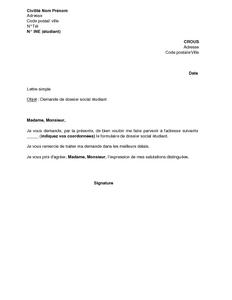 Lettre De Demande De Dossier Social Auprès Du Crous Bourse