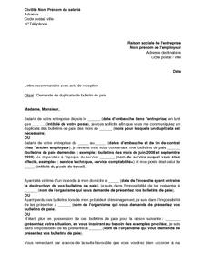 Exemple Gratuit De Lettre Demande Duplicata Bulletin Paie Par