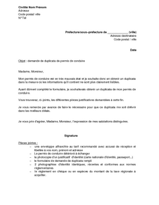 lettre de demande de duplicata de permis de conduire d t rioration mod le de lettre gratuit. Black Bedroom Furniture Sets. Home Design Ideas