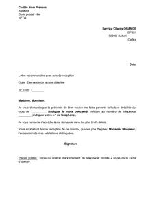 Exemple Gratuit De Lettre Demande Facture Détaillée Orange