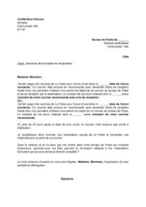 Lettre De Demande De Formulaire De Reclamation Pour Perte D Un Envoi Recommande Modele De Lettre Gratuit Exemple De Lettre Type Documentissime