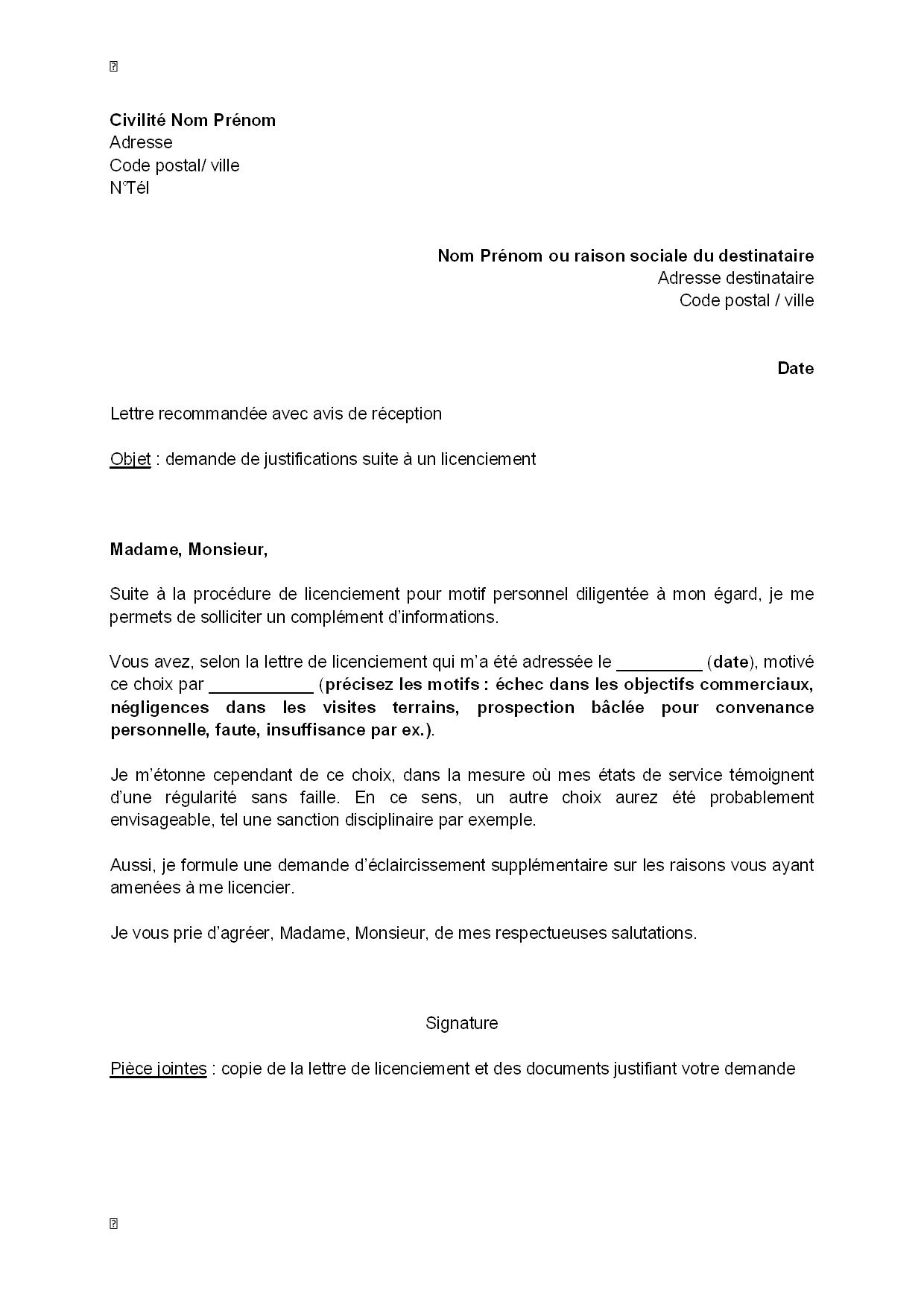 exemple gratuit de lettre demande justifications suite  u00e0 licenciement