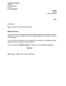 Lettre De Demande De L Aide D Urgence Annuelle Au Crous