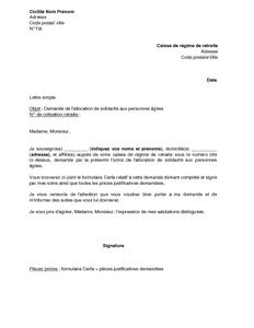 Exemple Gratuit De Lettre Demande Allocation Solidarite Personnes