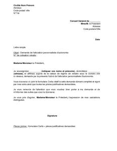 Lettre de demande de l 39 allocation personnalis e d 39 autonomie mod le - Faire suivre courrier gratuitement ...
