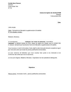 Exemple Gratuit De Lettre Demande Allocation Supplementaire Invalidite Asi