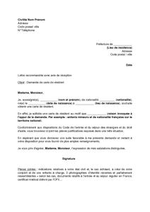 demande carte de résident Lettre de demande de la carte de résident par un étranger   modèle