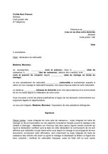 lettre de demande de la nationalit franaise par un tranger mariage modle de lettre gratuit exemple de lettre type documentissime - Mariage Francais Etranger Documents