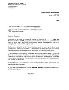 9c9e6d0b663 Exemple gratuit de Lettre demande mise à disposition un local par délégués  personnel à employeur