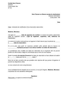 Exemple Gratuit De Lettre Demande Modification Réservation