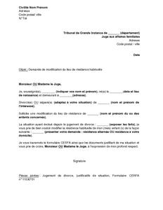 lettre type juge des affaires familiales