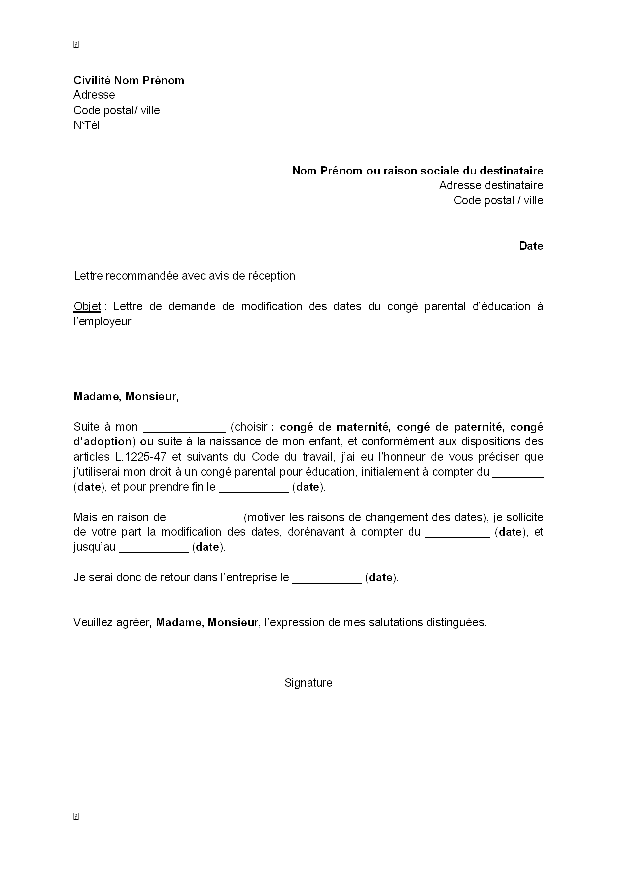 congé parental lettre modification contrat de travail congé parental ] | letter of  congé parental lettre