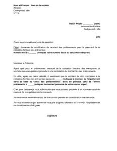 Exemple Gratuit De Lettre Demande Modification Montant