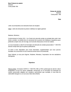 Modele Lettre Pour Demande De Retraite Document Online
