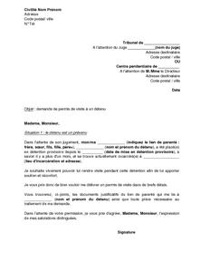 Lettre De Demande De Permis De Visite A Un Detenu Par Un Membre De