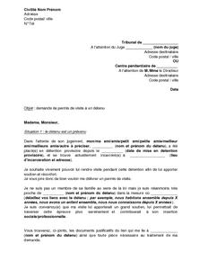 exemple de lettre pour un detenu Exemple gratuit de Lettre demande permis visite à détenu par  exemple de lettre pour un detenu
