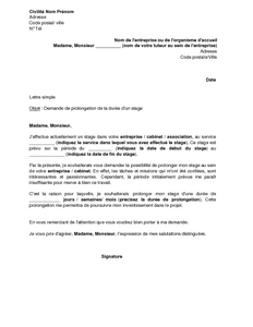 Exemple Gratuit De Lettre Demande Prolongation Durée Stage