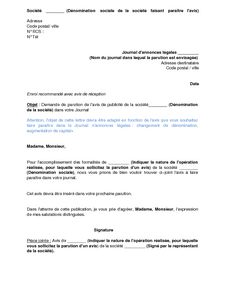 exemple gratuit de lettre demande publication journal annonces l gales un avis modification une sarl