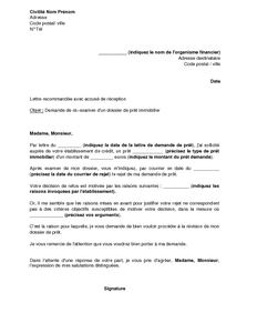 lettre de demande de credit immobilier job application letter. Black Bedroom Furniture Sets. Home Design Ideas