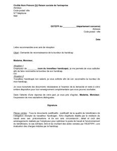 Lettre De Demande De Reconnaissance De La Lourdeur Du