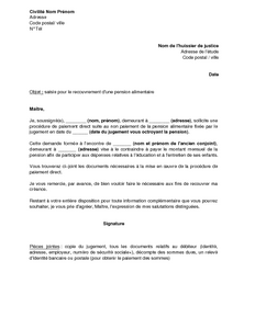 Recu Courrier Procedure Paiement Direct Pension Alimentaire Caf