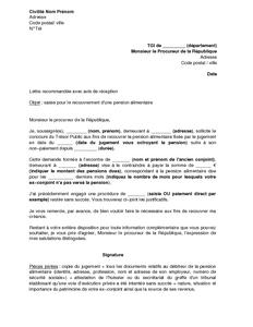 lettre de pension alimentaire