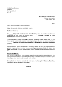 Lettre de demande de réduction du préavis suite à la résiliation du bail d'habitation - modèle ...