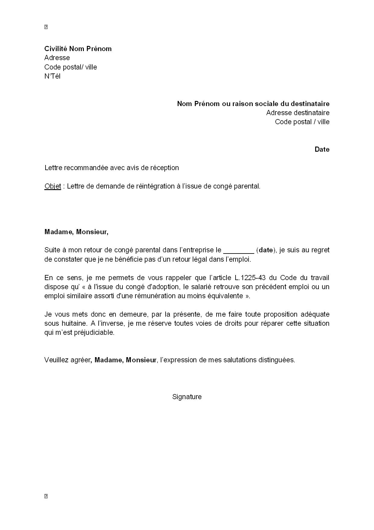 congé parental lettre Lettre de demande de réintégration à l'issue du congé parental  congé parental lettre