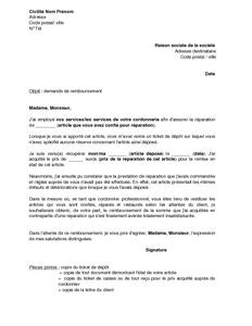 Lettre de demande de remboursement au cordonnier pour r paration insatisfaisa - Lettre de demande de remboursement ...