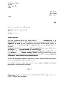 Exemple gratuit de lettre demande remboursement prorata suite suspension li - Lettre de demande de remboursement ...